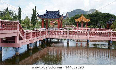 Oriental Architecture in Melati Lake in Malaysia