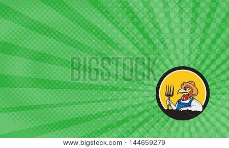 Business Card showing Illustration of a chicken farmer wearing overalls and hat holding pitchfork viewed from front set inside circle on isolated background done in cartoon style.