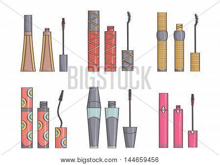 Set of trendy, stylish mascaras for eyelashes. Mascara collection, isolated.