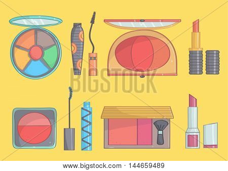 Hand drawn colorful set of makeup on white background. Vector makeup collection of lipsticks, mascaras, blushes and eye shadows.
