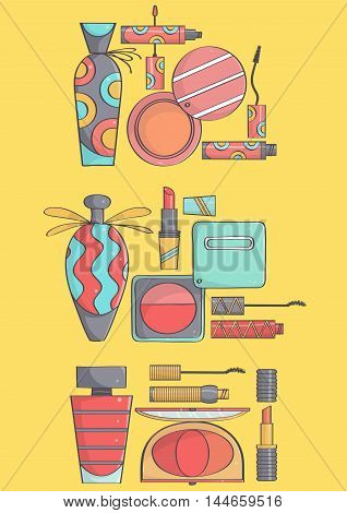 Set of three stylish, fashionable makeup collections on yellow background. Vector collection of lipsticks, mascaras, blushes and perfumes on yellow background, hand drawn.