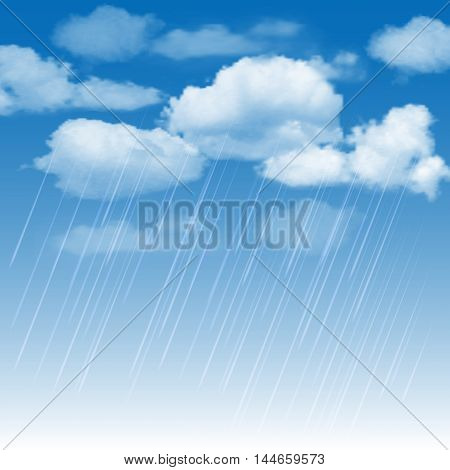 Summer background with rainclouds and rain in the blue sky. Vector illustration