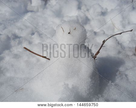 A little snowman made with sticks and snow