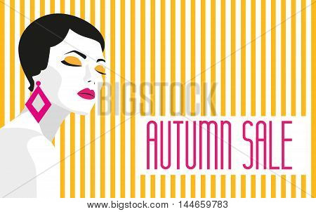 Autumn sale. Banner. Fashion girl. Bold, minimal style. Pop Art. OpArt, positive negative space and colour. Trendy stripes. Vector illustration
