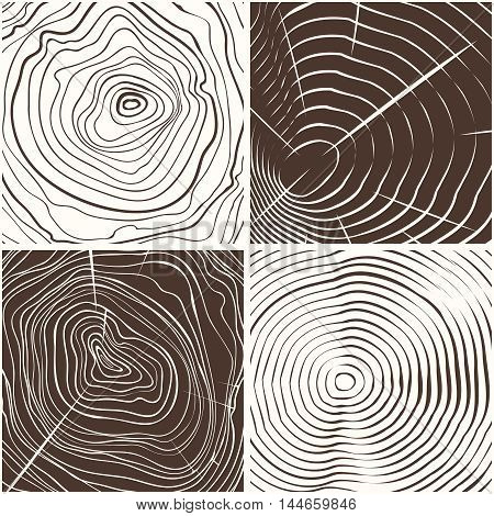 Vector wood rings texture or tree rings conceptual background