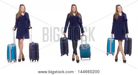 Young businesswoman with suitcase isolated on white