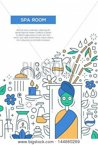 Spa room - vector line design brochure poster, flyer presentation template, A4 size layout.