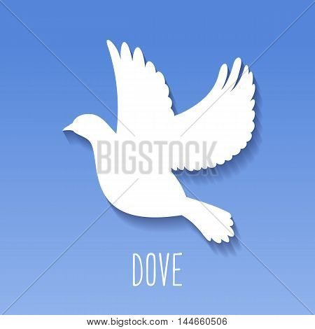Dove Icon on blue background. Pigeon silhouette. Vector illustration.