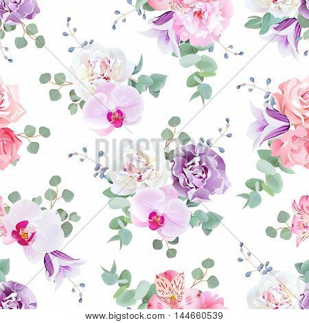 Wedding delicate seamless vector print in purple pink and white tones. Peony alstremeria lily violet carnation rose campanula orchid eucaliptus.