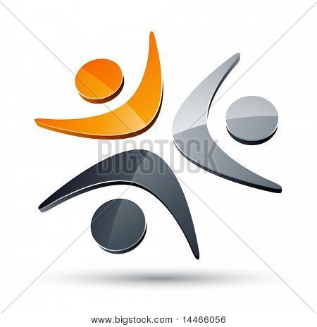 Abstract humans together design element