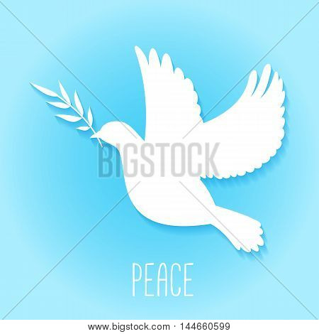 Peace dove with olive branch silhouette. Vector illustration.
