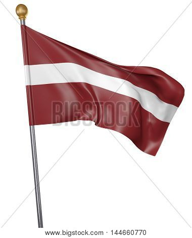 National flag for country of Latvia isolated on white background, 3D rendering
