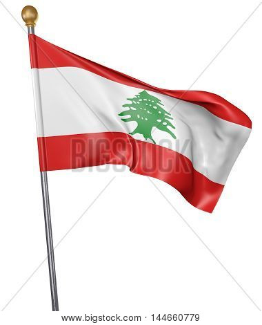 National flag for country of Lebanon isolated on white background, 3D rendering