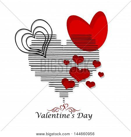 white background with composition hearts valentine's day