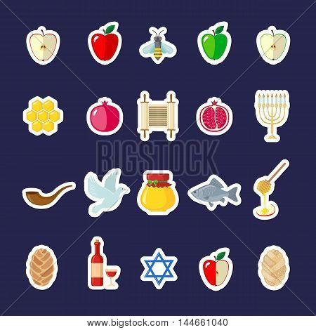 Set of Rosh Hashanah stickers in flat style. Shana Tova or Jewish New year symbols. Vector illustration.