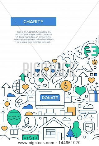 Charity - vector line design brochure poster, flyer presentation template, A4 size layout.