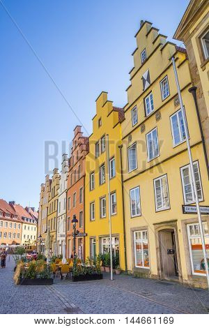 OSNABRUCK, GERMANY - AUGUST 25, 2016: Restaurants with colorful facades in Osnabruck, Germany