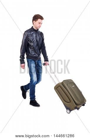 front view of walking man with suitcase. Isolated over white background.