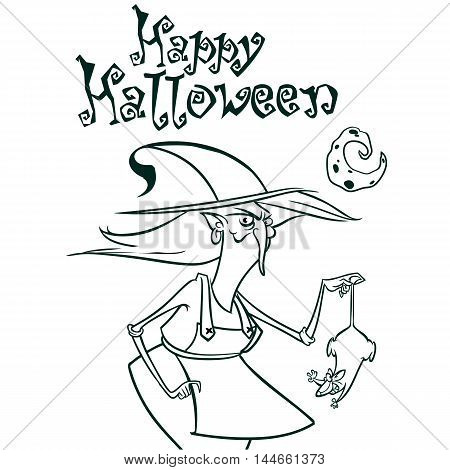 Halloween witch in hat holding a rat in her hand outlines. Vector illustration of witch silhouette. Coloring book