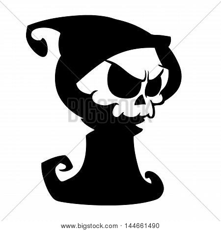 Cartoon grim reaper with scythe isolated on a white background. Halloween cute death character in black hood outline. Vector silhouette