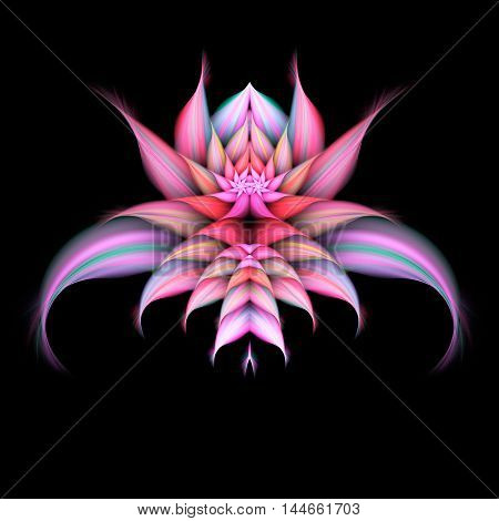Abstract exotic flower on black background. Symmetrical pattern. Fractal illustration in pastel rose green beige red and violet colors.