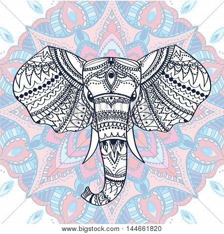 Greeting Beautiful card with Ethnic patterned head of elephant. Vector illustration. Use for print, posters, t-shirts or for any other kind of design . african indian totem tattoo design.