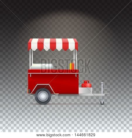 Red fast food hot dog cart. Street food market, trolley stand vendor service. Kiosk seller fast food business. Vector icon on transparent background, isolated object