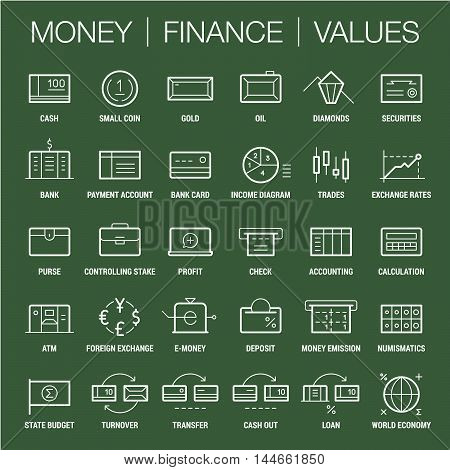 Icons set of money, finance and values area. Thick and thin lines. White on color.