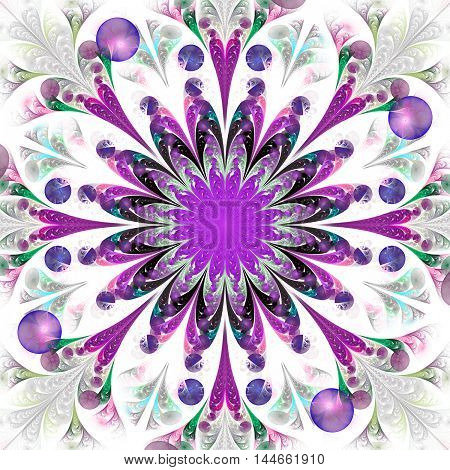 Fantasy flower with purple center. Abstract psychedelic mandala on white background. Fractal design in green pink violet grey and black colors. Print for postcards wallpapers or t-shirts.