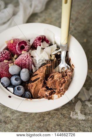 Healthy vegan chocolate ice cream in a bowl