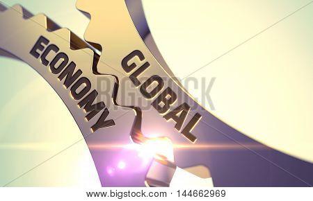 Global Economy on the Mechanism of Golden Metallic Cog Gears with Lens Flare. 3D Render.