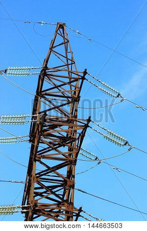 metal tower high voltage transmission lines with the wires and elements of the suspension and insulation of wires under tension