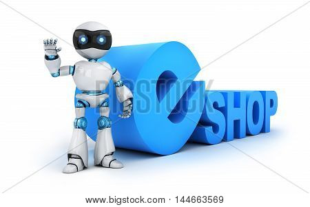 Robot and sign e-shop (done in 3d rendering)