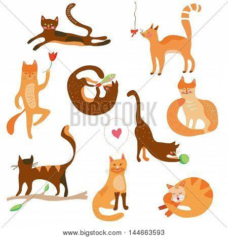 Cats funny set cartoons - vector graphic illustration