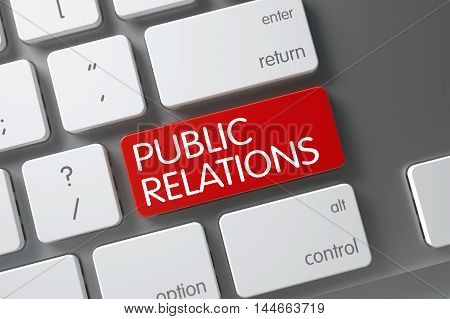 Public Relations Concept Modern Laptop Keyboard with Public Relations on Red Enter Button Background, Selected Focus. 3D Render.