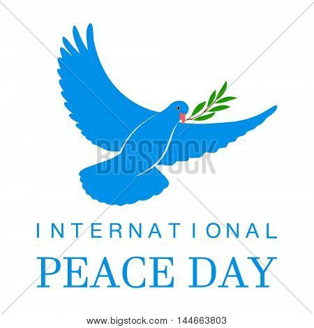 White Dove Vector Icon with Olive Branch. Peace Symbol. Pigeon Isolated Logo. White Flying Bird Emblem. Flat Dove Sign. International Day of Peace Poster Template with white dove, olive. 21 september.