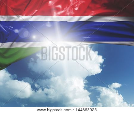 The Gambia flag on a beautiful day
