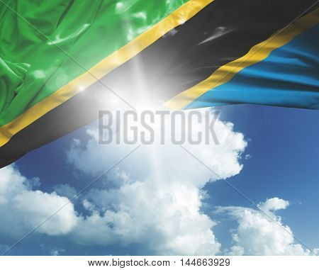 Tanzania flag on a beautiful day