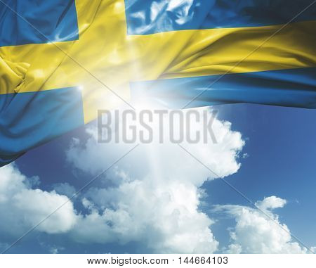 Sweden flag on a beautiful day