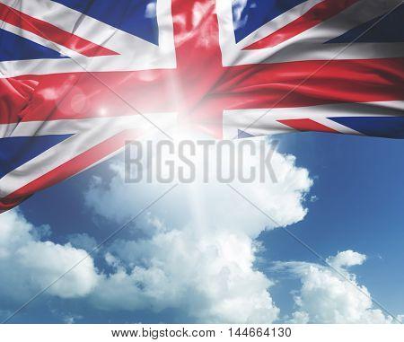 United Kingdom flag on a beautiful day