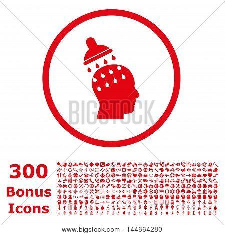 Brain Washing rounded icon with 300 bonus icons. Vector illustration style is flat iconic symbols, red color, white background.