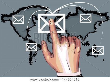 email. marketing business concept background with human hand