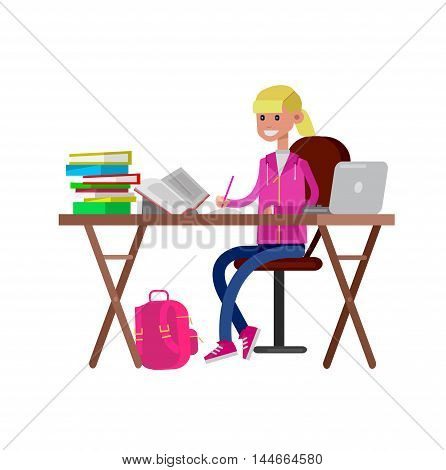 Girl studying in classroom with homework. Flat illustration