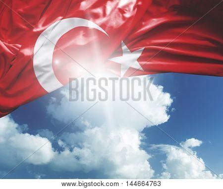 Turkey flag on a beautiful day