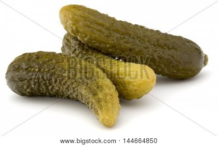 pickled or marinated  cucumbers isolated on white background cutout