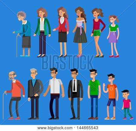 Detailed characters people. Generations woman and men. All age categories - infancy, childhood, adolescence, youth, maturity, old age. Stages of development