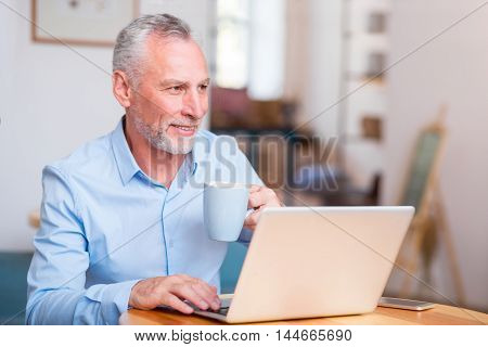 Refresh your brain. Cheerful handsome delighted man drinking tea and using laptop while sitting at the table