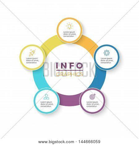 Five steps infographics. Diagram with 5 parts. Vector design element.