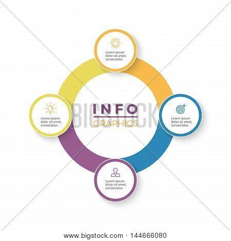 Four steps infographics. Diagram with 4 parts. Vector design element.