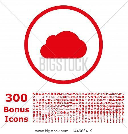 Cloud rounded icon with 300 bonus icons. Vector illustration style is flat iconic symbols, red color, white background.